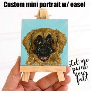 Mini pet portrait dog cat art with easel custom